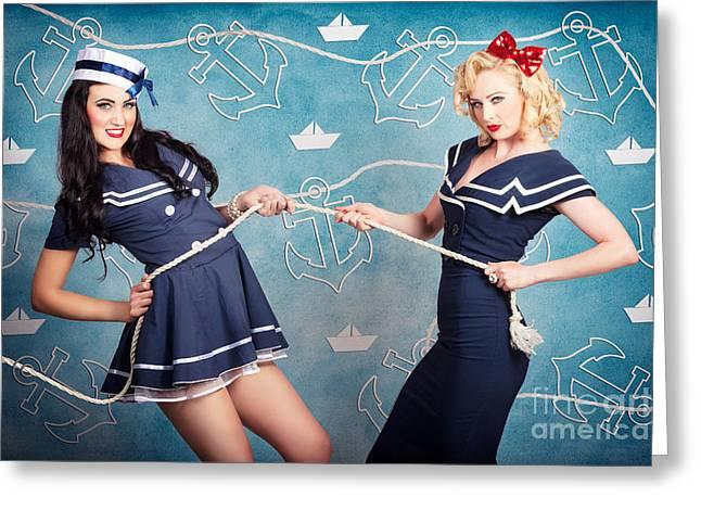 Beautiful Navy Pinup Girls On Marine Background Greeting Card