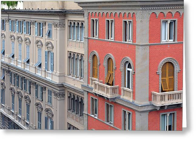 Beautiful Ornamented Buildings From Genova, Italy Greeting Card