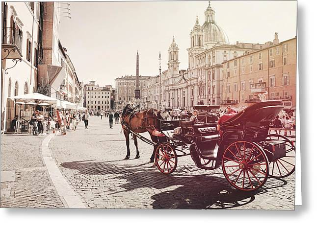 Beautiful Piazza Greeting Card by Dressage Design