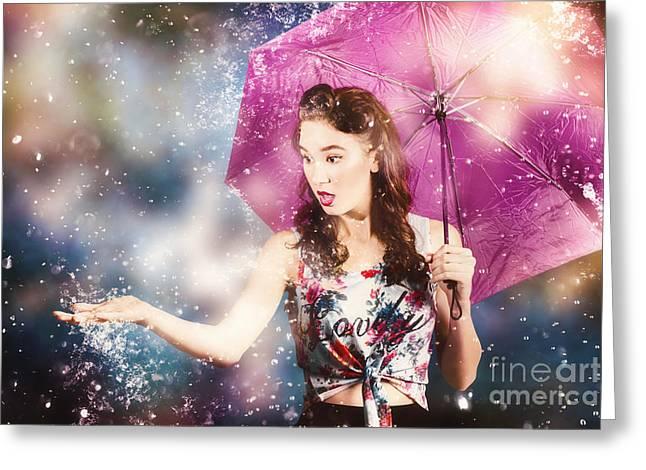 Beautiful Pin Up Woman Catching Rain Water Greeting Card by Jorgo Photography - Wall Art Gallery