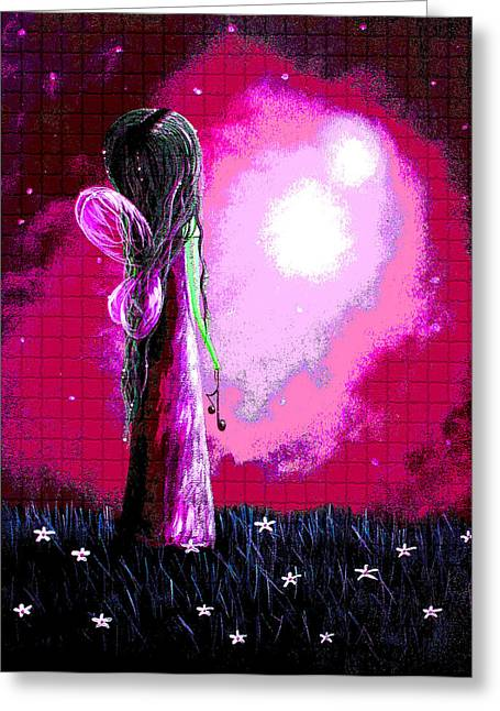 Modern Digital Art Digital Art Greeting Cards - Beautiful Pink Angel Fairy by Shawna Erback Greeting Card by Shawna Erback