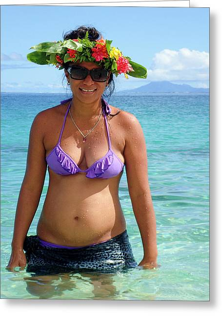 Beautiful Polynesian Woman With Floral Hat Greeting Card