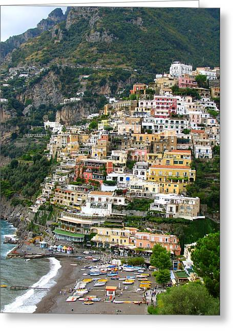 Beautiful Positano Greeting Card by Carla Parris