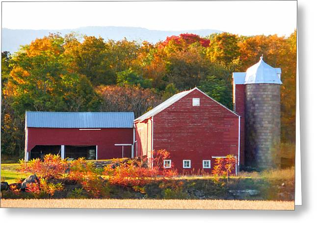 Greeting Card featuring the painting Beautiful Red Barn 2 by Lanjee Chee