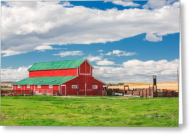Beautiful Red Barn Greeting Card by Todd Klassy