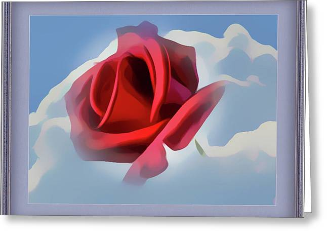 Beautiful Red Rose Cuddled By Cumulus Greeting Card