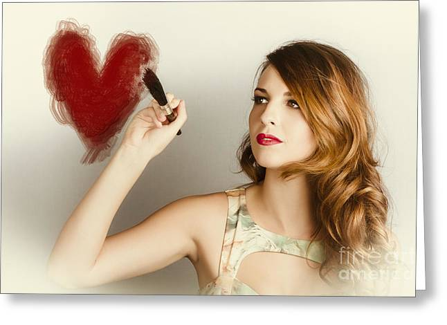 Beautiful Retro Girl Painting Red Love Heart Greeting Card by Jorgo Photography - Wall Art Gallery