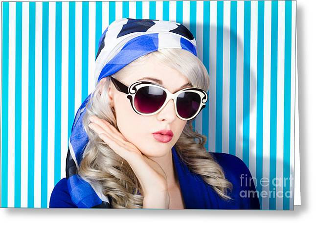 Beautiful Retro Pinup Girl In Scarf And Sunglasses Greeting Card