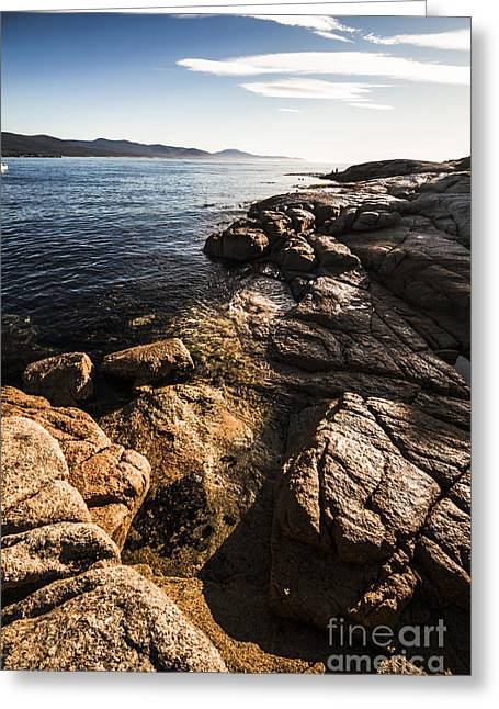 Beautiful Rock Covered Coastline Greeting Card by Jorgo Photography - Wall Art Gallery