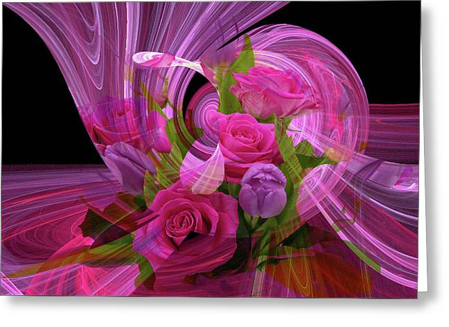 Beautiful Rose Bouquet Montage Greeting Card
