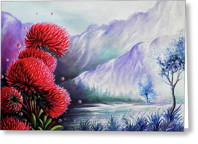 Beautiful Scenery The Red Flowers Greeting Card by Arun Sivaprasad