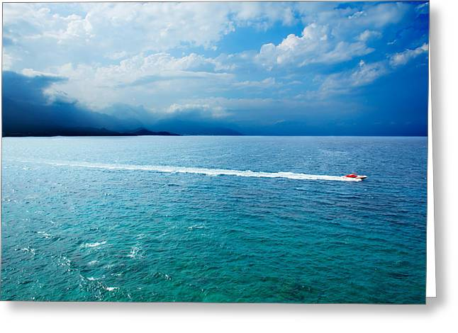 Beautiful Seascape With Speedboat Greeting Card by Vadim Goodwill