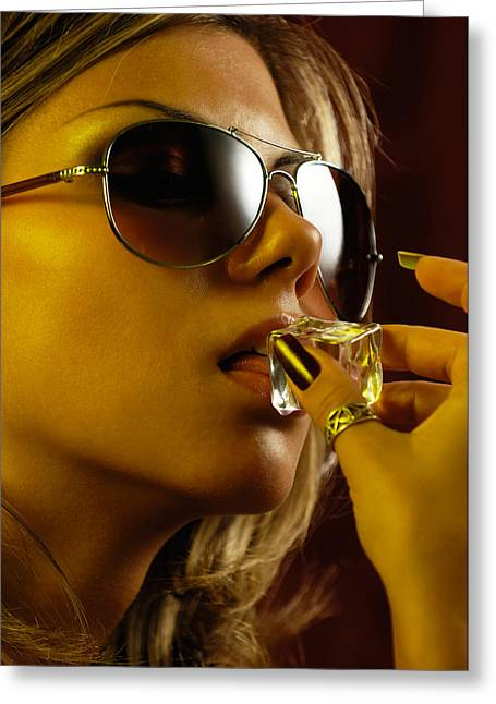 Allurement Greeting Cards - Beautiful Sexy Woman Licking an Ice Cube Greeting Card by Oleksiy Maksymenko