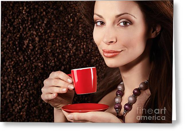 Beautiful Smiling Woman Holding A Cup Of Coffee Greeting Card by Oleksiy Maksymenko