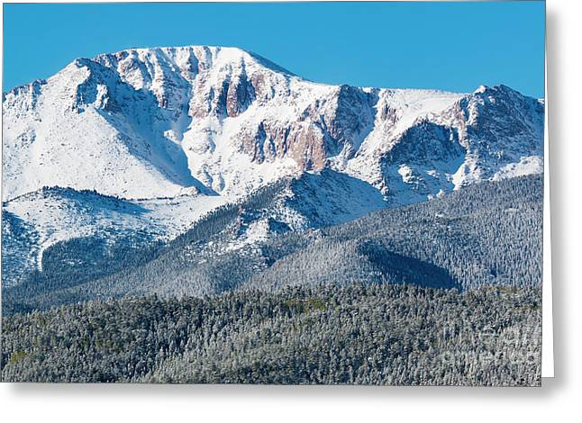 Beautiful Spring Snow On Pikes Peak Colorado Greeting Card
