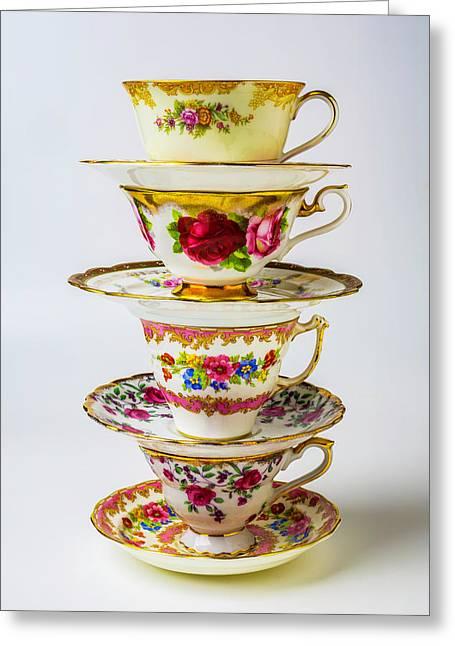 Beautiful Stacked Tea Cups Greeting Card