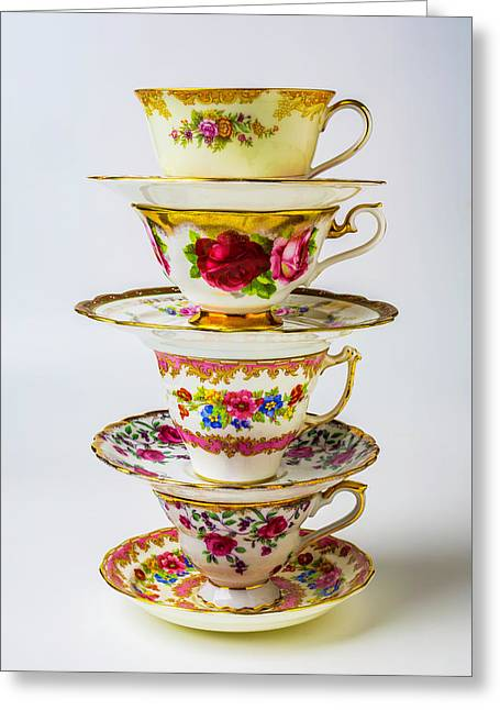 Beautiful Stacked Tea Cups Greeting Card