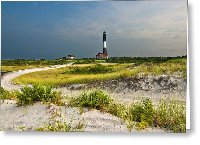 Beautiful Sunrise At The Fire Island Lighthouse Greeting Card by Vicki Jauron