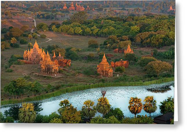 Beautiful Sunrise In Bagan Greeting Card