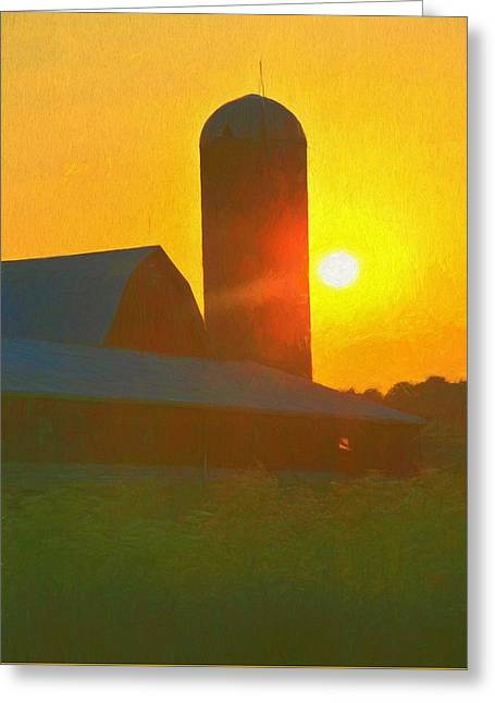 Beautiful Sunrise Over The Farm Greeting Card by Dan Sproul