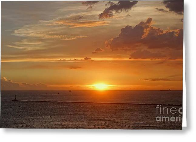 Greeting Card featuring the photograph Beautiful Sunset At Kaohsiung Harbor by Yali Shi