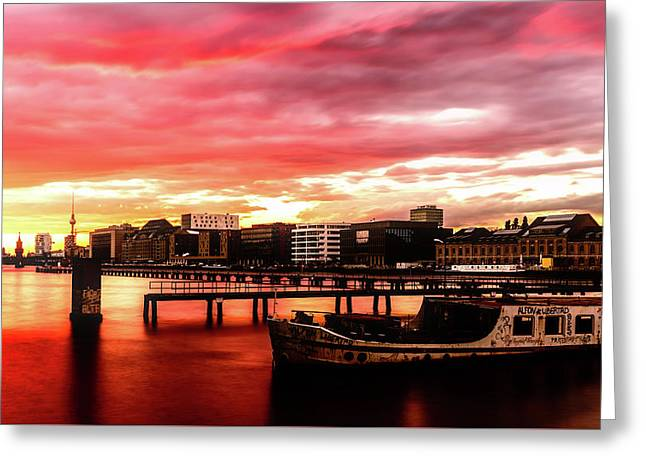 Beautiful Sunset Over Berlin Greeting Card