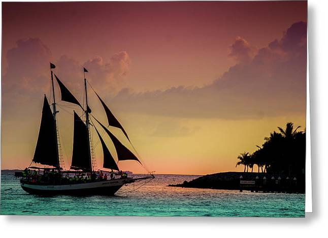Beautiful Sunset Sail At Key West Greeting Card by Art Spectrum