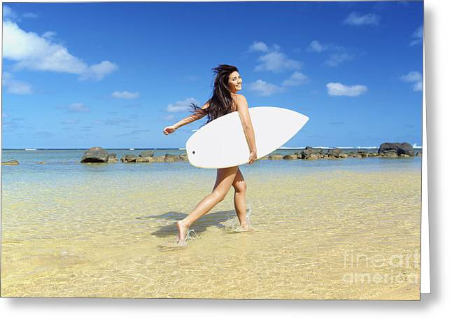Beautiful Surfer Girl Greeting Card