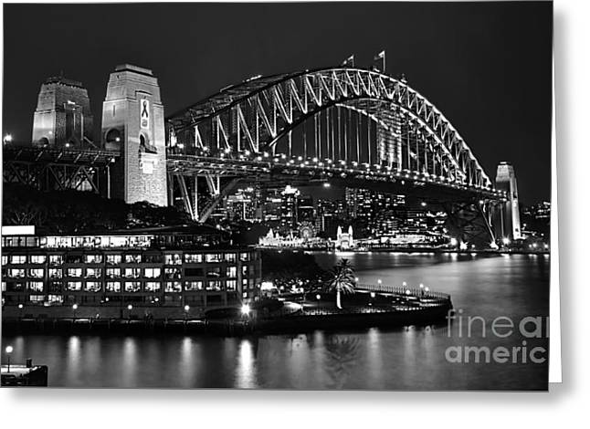 Beautiful Sydney Harbour In Black And White Greeting Card