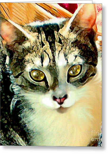 Greeting Card featuring the painting Beautiful Tabby by Elinor Mavor