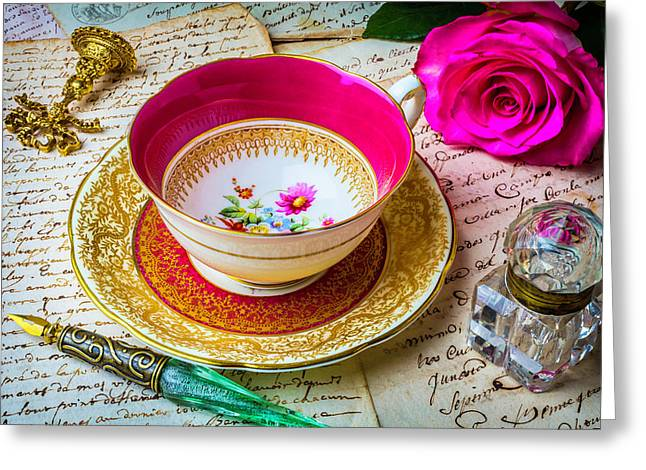 Beautiful Tea Cup And Ink Well Greeting Card by Garry Gay