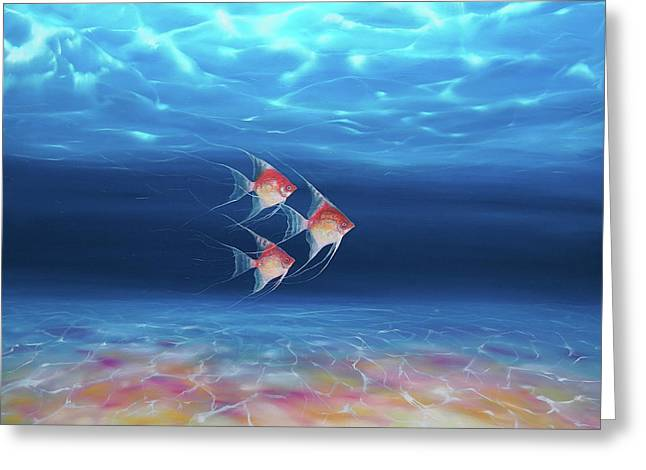 Beautiful Trio Under The Sea - A Underwater Seascape With Angel Fish Greeting Card