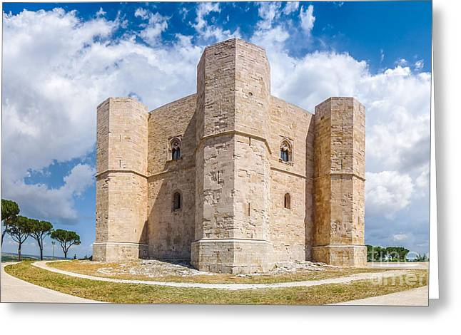 Historic Architecture Greeting Cards - Beautiful view of Castel del Monte, the famous castle built in a Greeting Card by JR Photography