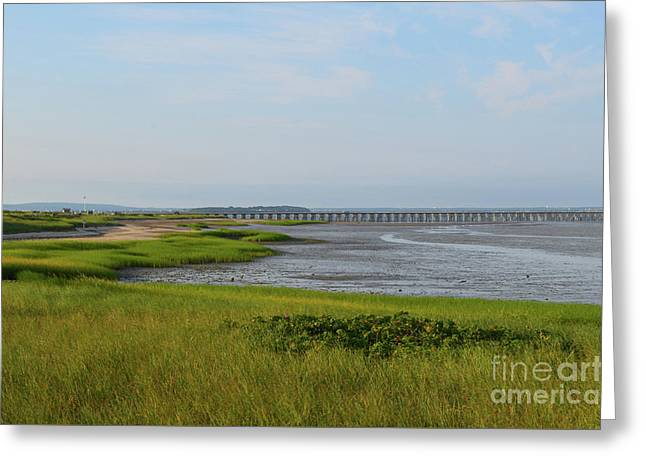 Beautiful Views Of Powder Point Bridge And Duxbury Bay Greeting Card