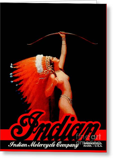 Beautiful Vintage Indian Motorcycle Poster Greeting Card