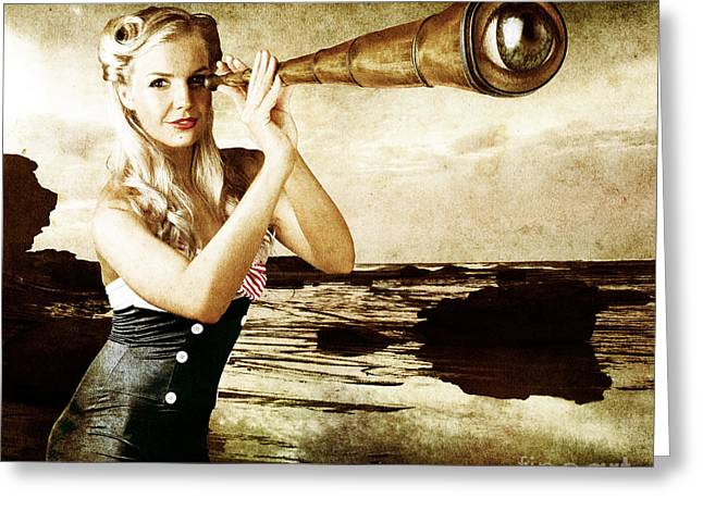 Beautiful Vintage Woman With Steampunk Telescope Greeting Card by Jorgo Photography - Wall Art Gallery