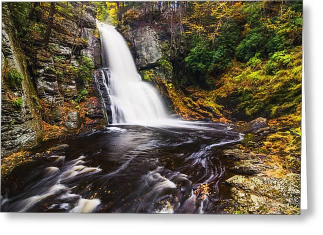 Beautiful Waterfall In Bushkill Falls State Park Pa Usa Greeting Card by Vishwanath Bhat