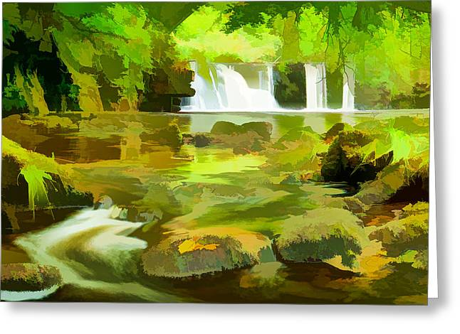 Beautiful Waterfall River Greeting Card by Lanjee Chee