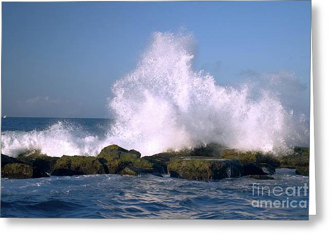 Beautiful Waves Hitting The Coastline Rocks 2 Greeting Card