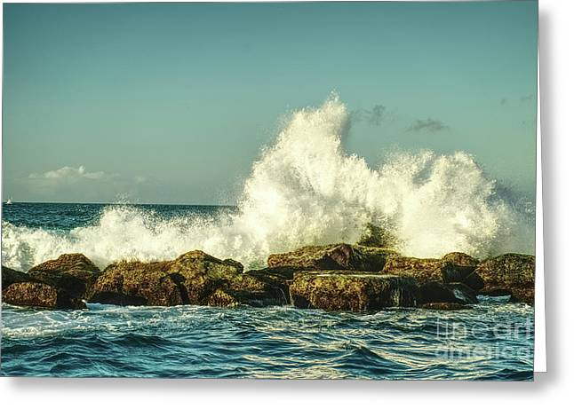 Beautiful Waves Hitting The Coastline Rocks 3 Greeting Card