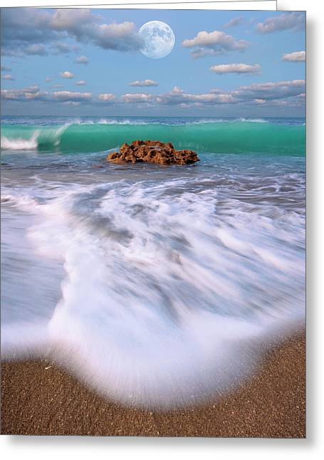 Greeting Card featuring the photograph Beautiful Waves Under Full Moon At Coral Cove Beach In Jupiter, Florida by Justin Kelefas