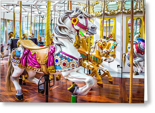 Beautiful White Carrousel Horse Greeting Card by Garry Gay