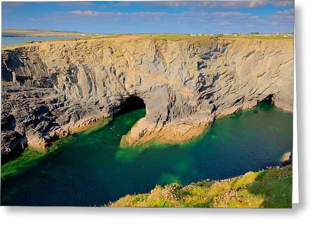 Beautiful Wine Cove Cornwall Coast Turquoise Blue Sea With Snorkellers Near Treyarnon Greeting Card by Michael Charles
