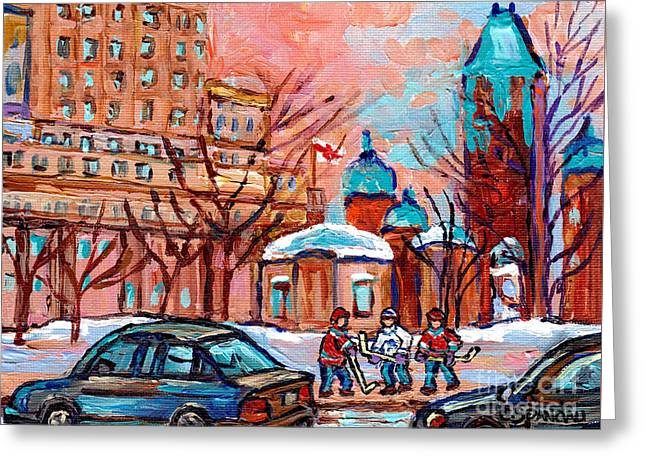 Beautiful Winter Day Downtown Montreal Dominion Square Hockey Art Canadian Scene Carole Spandau      Greeting Card