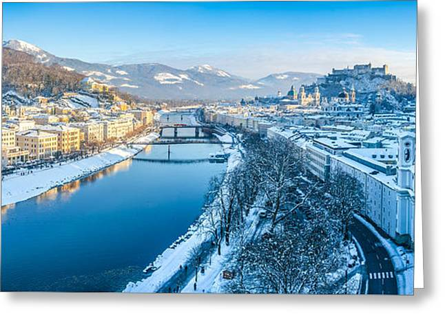 Beautiful Winter Day In Snowy Salzburg Greeting Card by JR Photography