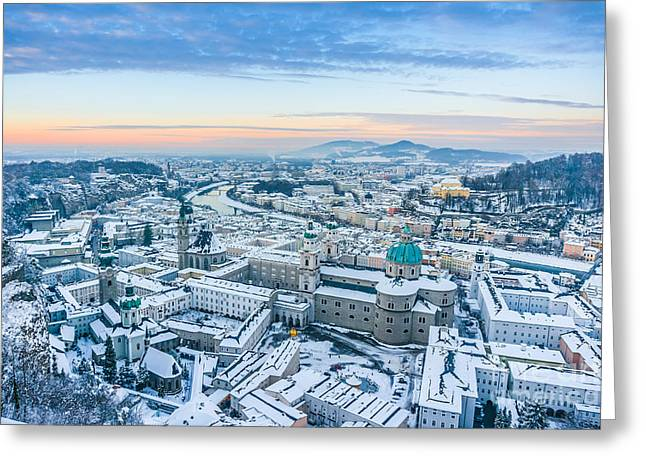 Beautiful Winter Sunset In Salzburg Greeting Card