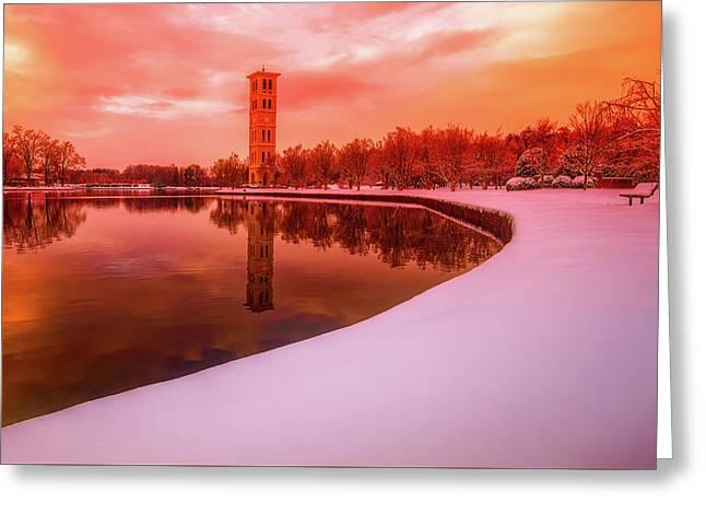 Beautiful Winter Sunset Over Furman University Greeting Card by David Siglin