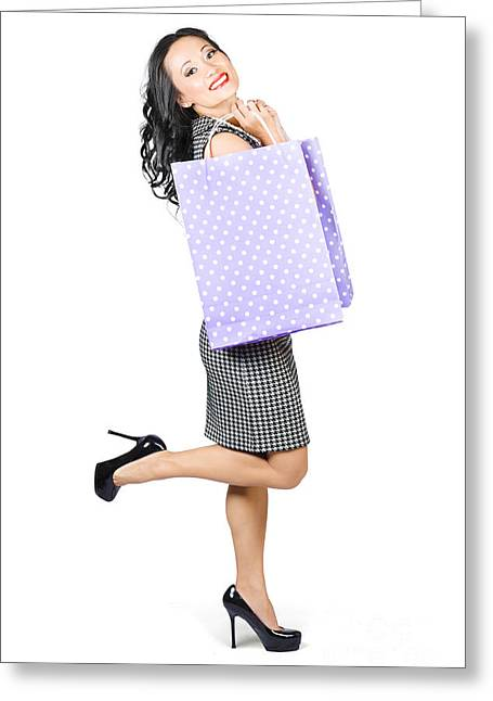 Beautiful Woman Holding Shopping Bags With Smile Greeting Card by Jorgo Photography - Wall Art Gallery