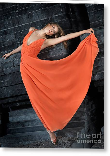Beautiful Woman In Orange Dress Greeting Card by Oleksiy Maksymenko