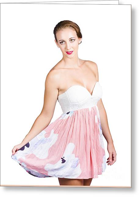 Beautiful Woman In Pink Floral Dress Greeting Card by Jorgo Photography - Wall Art Gallery